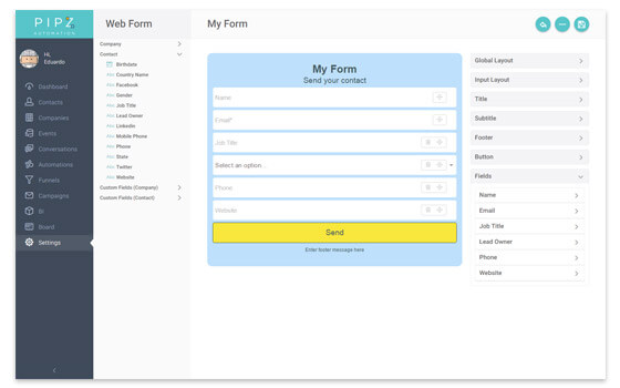 Fully customize webforms to kickstart the lead acquisition strategy from your website or blog.