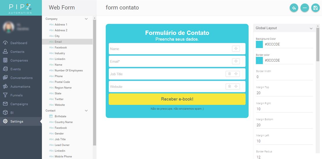 Editando o formulário de contato