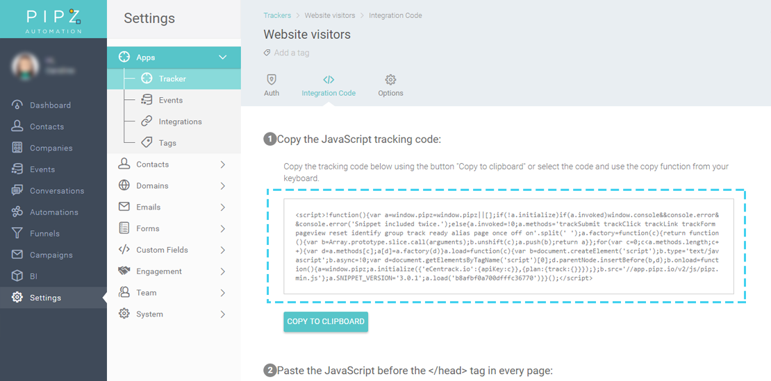 Tracker integration code